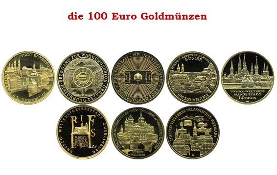 Deutsche 100 Euro Goldmünze 100 Euro Goldmünzen Deutschland